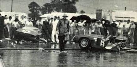 1965  Iso Grifo after hitting the Mercedes Bridge abutment