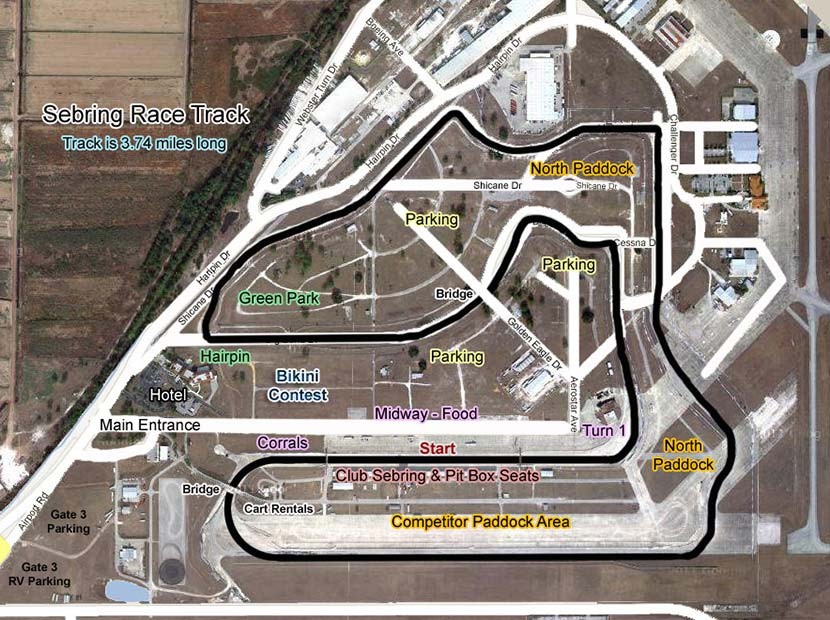 Sebring Races Track Map